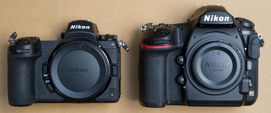 Größenvergleich - Nikon Z6 vs. D850